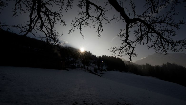 Berghof bei Sonnenaufgang