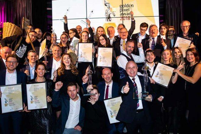 Alle PreisträgerInnen beim Golden Pixel Award 2018 © Golden Pixel Award/Franz Reiterer